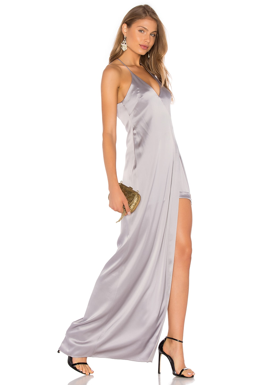 Halston Heritage V Neck Slip Dress in Grey