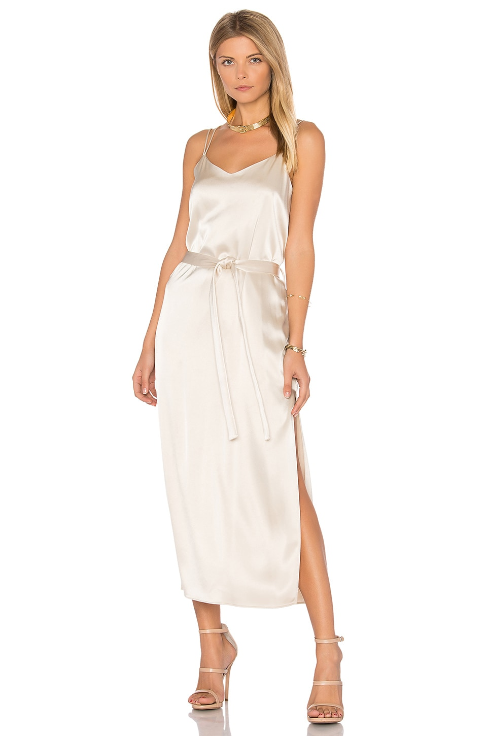 Halston Heritage Satin Cami Slip Dress in Champagne