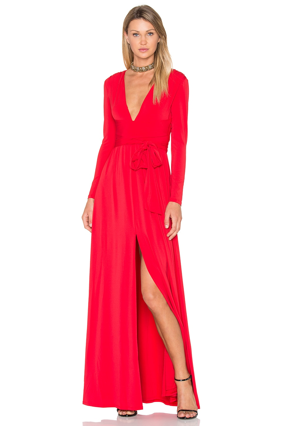 V Neck Wrap Tie Gown by Halston Heritage