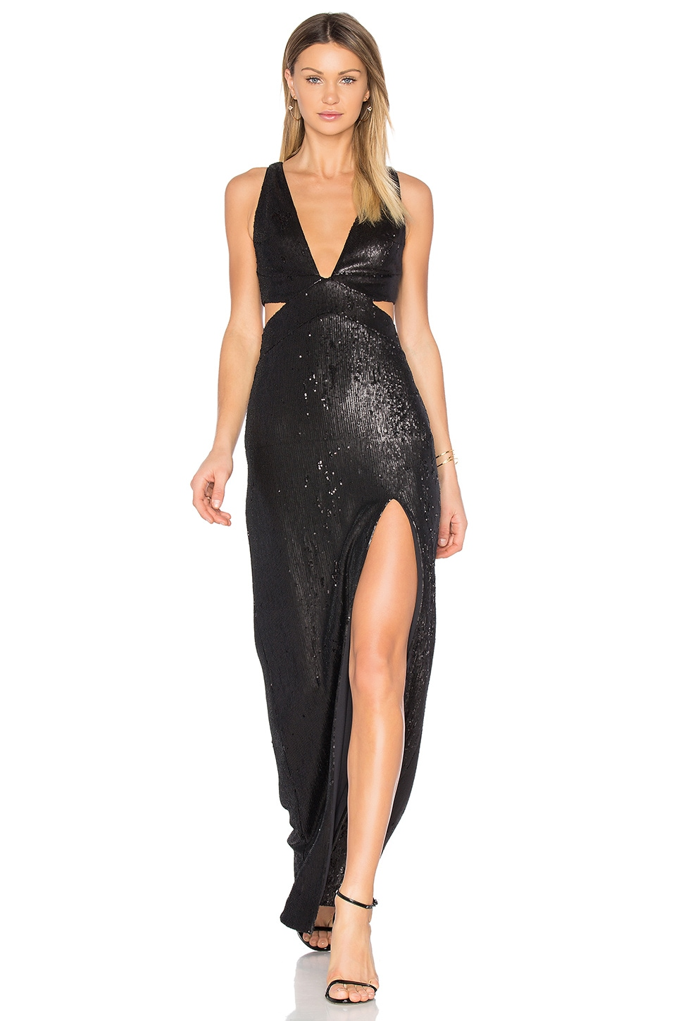 Halston Heritage Sequin Gown in Black