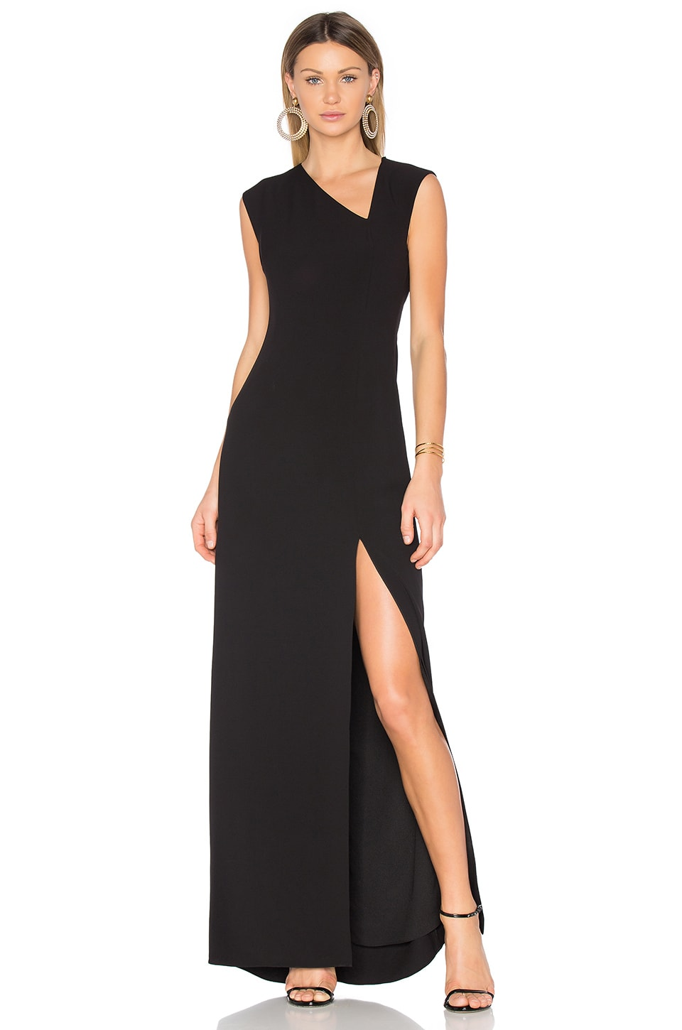 Halston Heritage Asymmetrical Gown in Black