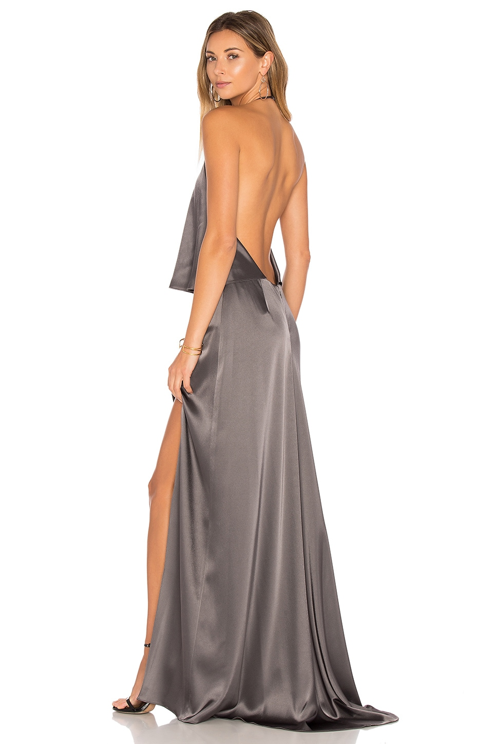 Halston Heritage Halter Low Back Dress in Graphite | REVOLVE