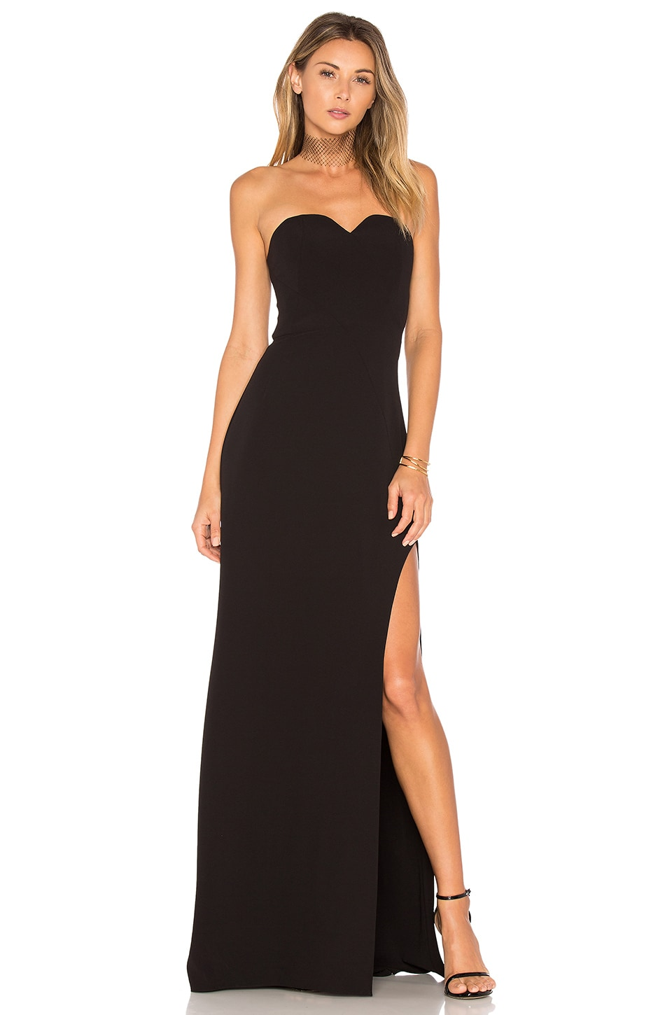 Halston Heritage High Slit Gown in Black | REVOLVE