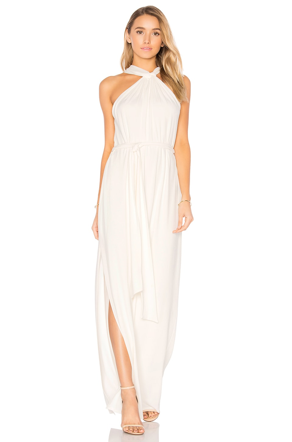 Sleeveless Knot Drape Neck Gown by Halston Heritage