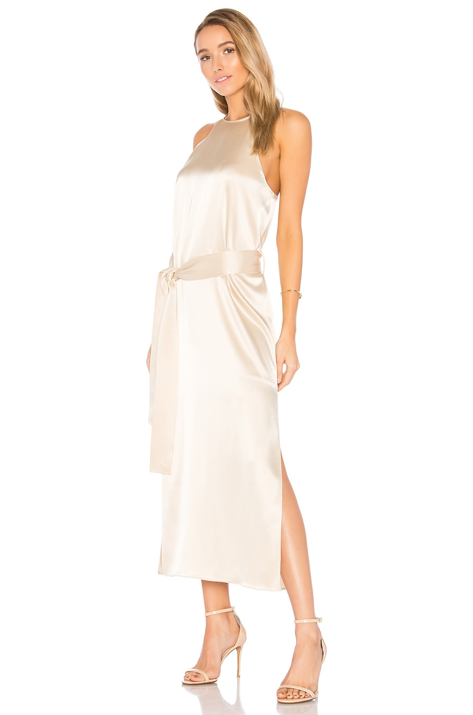 Halston Heritage Racer Slip Dress in Golden Pearl