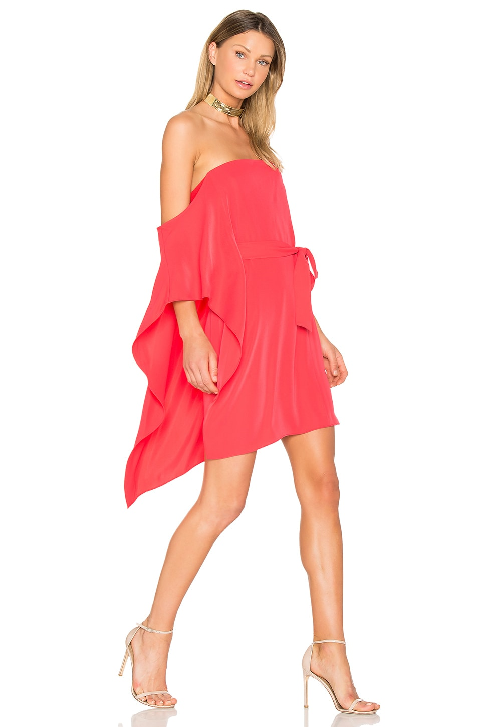 Halston Heritage One Sleeve Mini Dress in Poppy