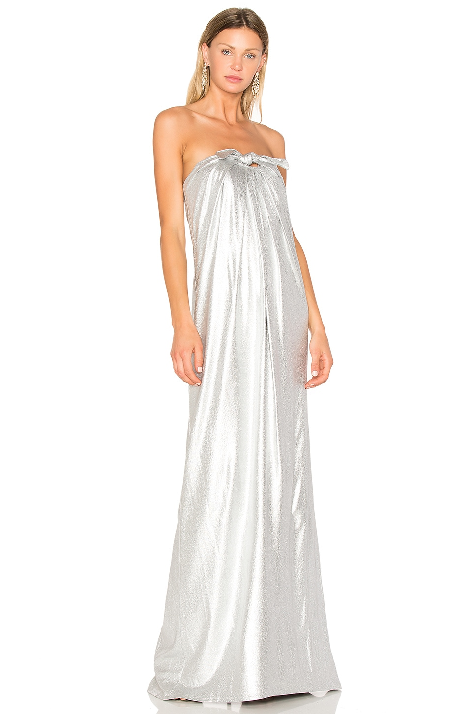 Halston Heritage Gown With Front Twist in Silver | REVOLVE