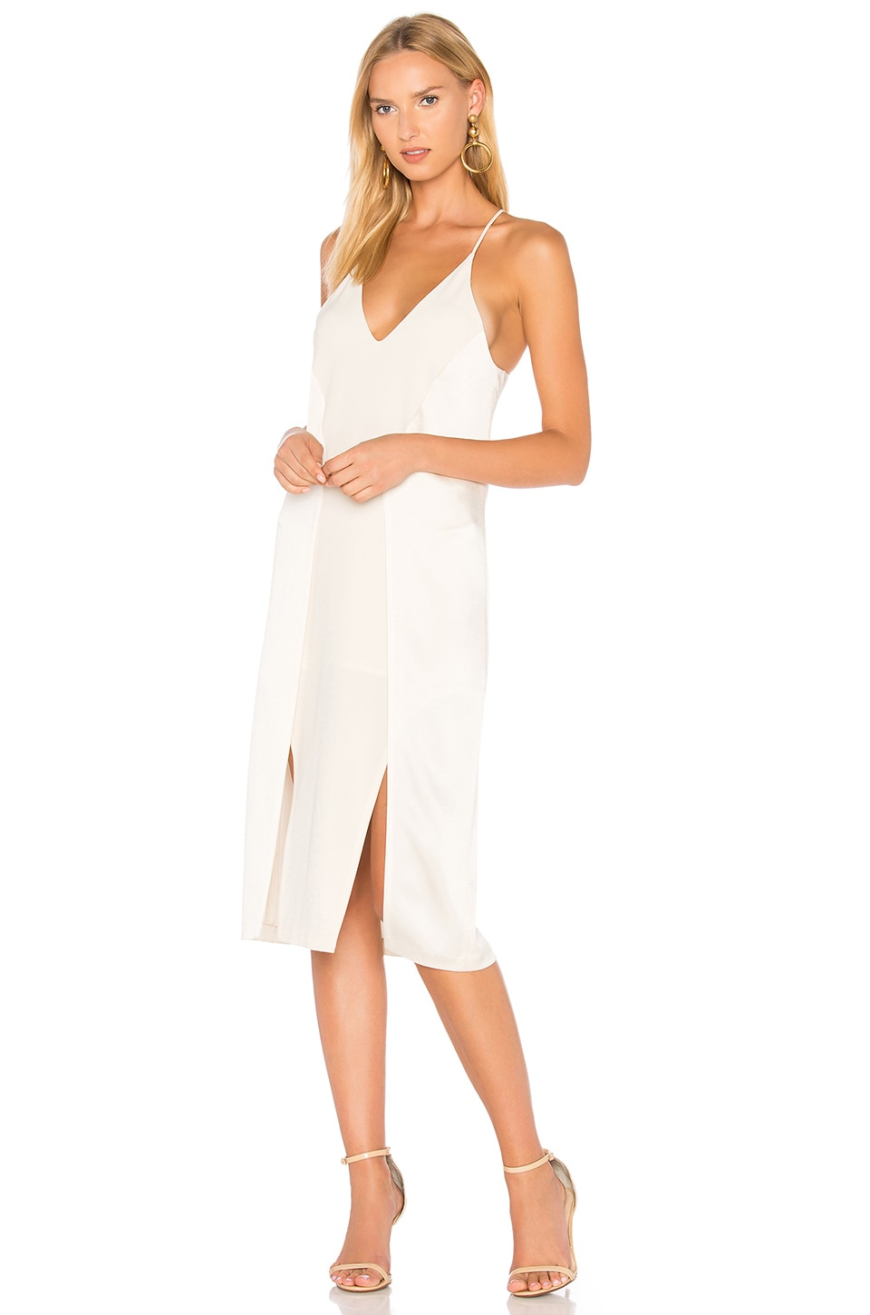 V Neck Slip Dress With Back Cut Outs by Halston Heritage