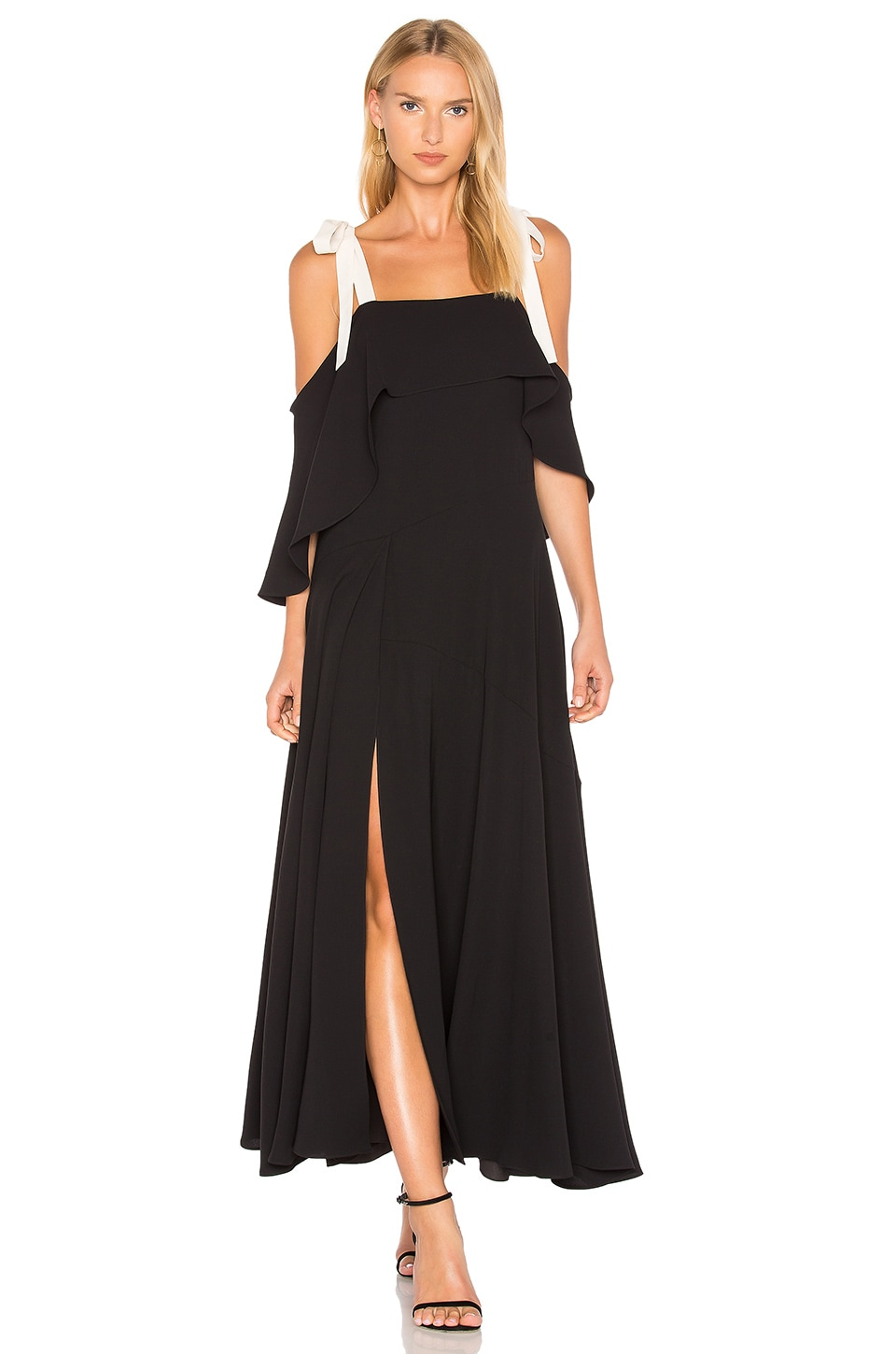 Cold Shoulder Gown With Flounce Detail by Halston Heritage