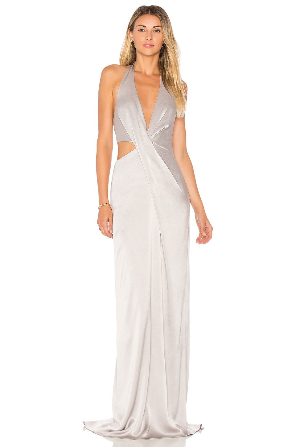 Deep V Neck Draped Gown by Halston Heritage