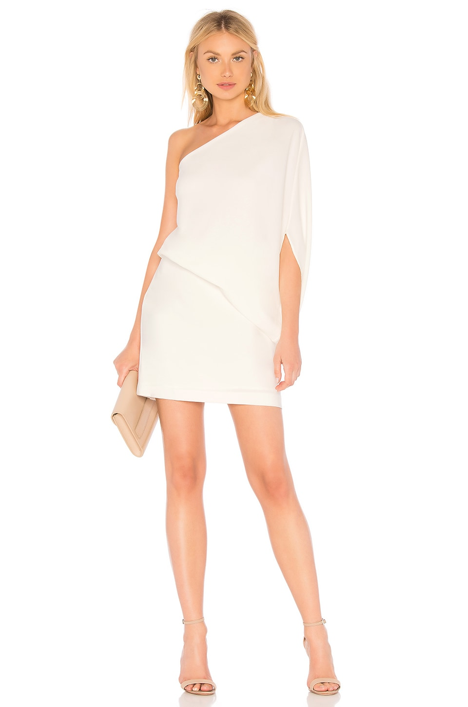 Halston Heritage Asymmetrical Sleeve Dress in Chalk