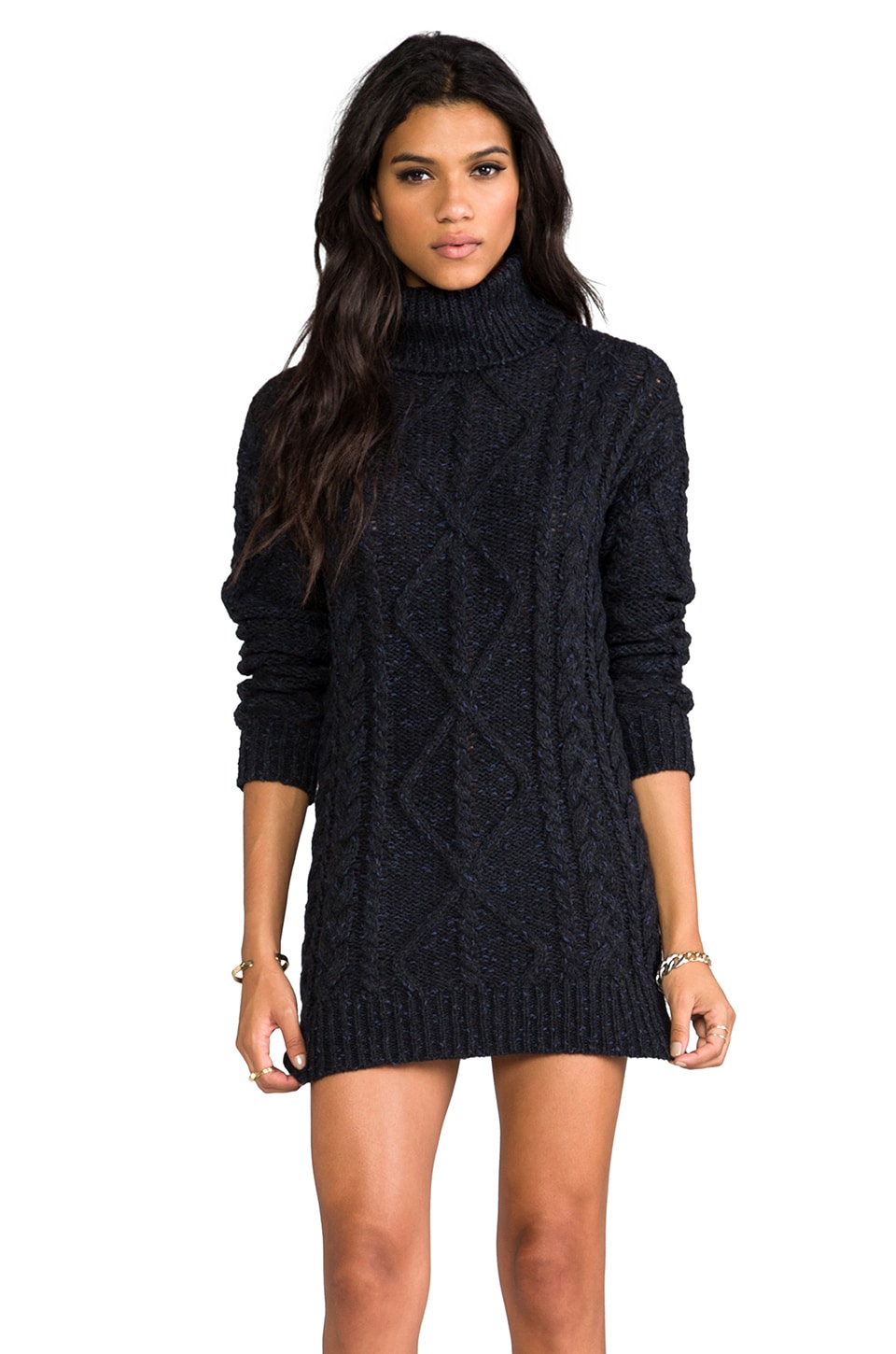Halston Heritage Turtle Neck Chunky Sweater in Black/Navy