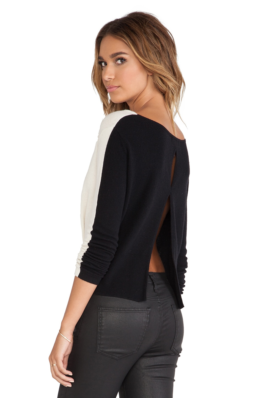 Halston Heritage Color Blocked Sweater in Chalk & Black
