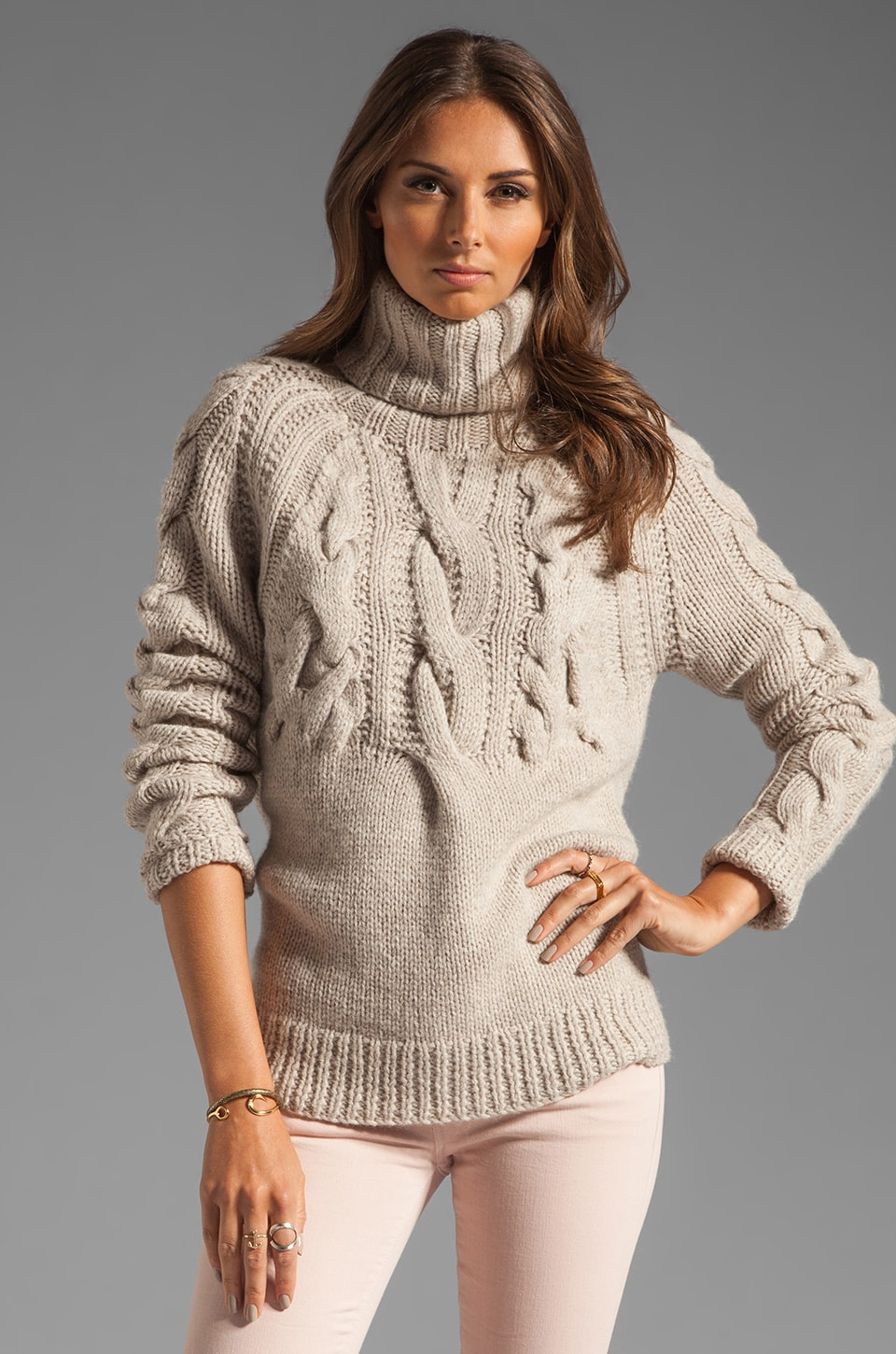 Halston Heritage LS Cable Rib Turtleneck Sweater in Natural