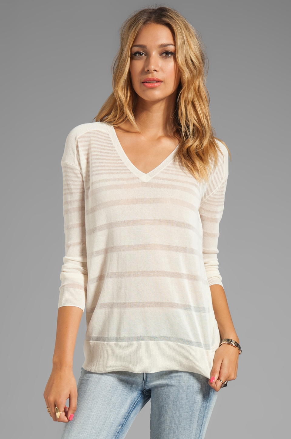 Halston Heritage Long Sleeve Sheer Striped Sweater in Bone