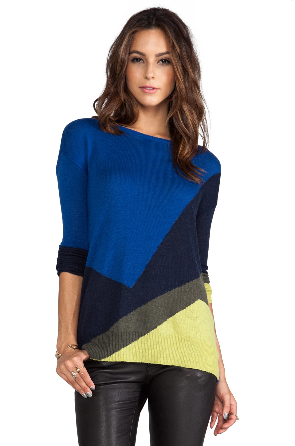 Halston Heritage Long Sleeve Intarsia Sweater in Multi