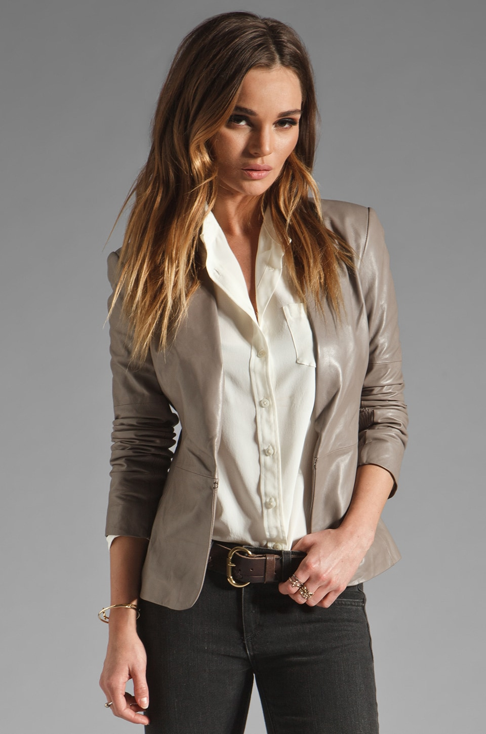 Halston Heritage Long Sleeve Leather Blazer w/ Knit Detail in Cinder