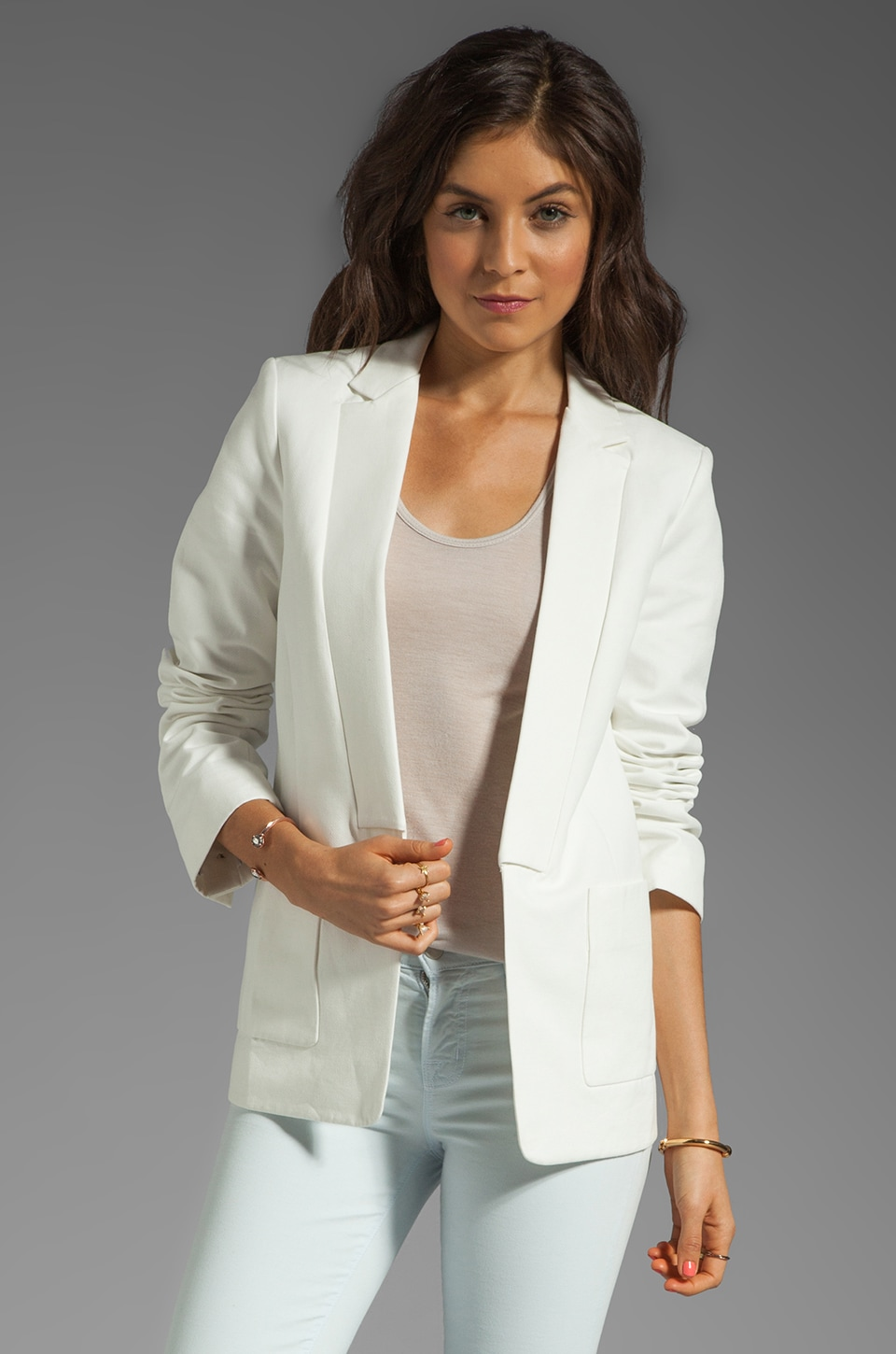 Halston Heritage Patch Pockets Blazer in Cream
