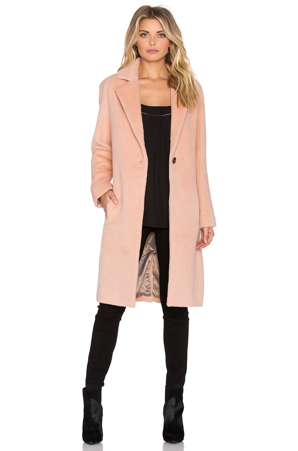 Halston Heritage Long Sleeve Slim Coat in Quartz Pink