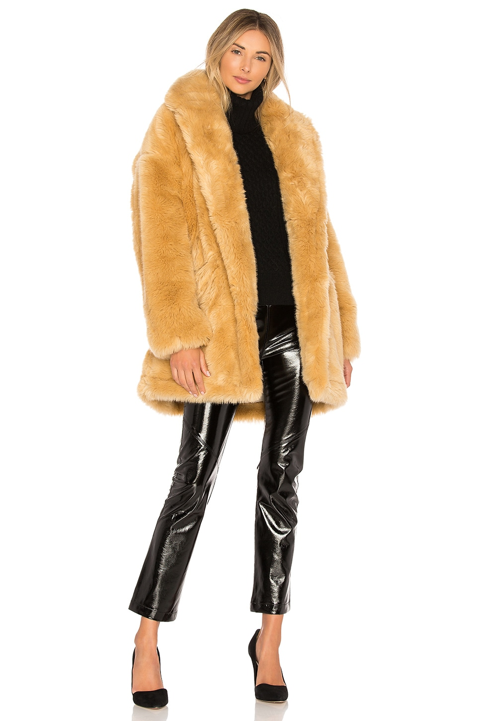 Halston Heritage Double Breast Faux Fur Coat in Camel