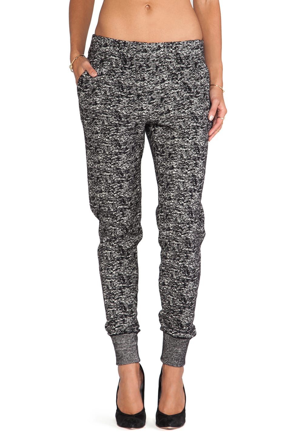 Halston Heritage Tapered Leg Tweed Knit Sweatpant in Black/Bone
