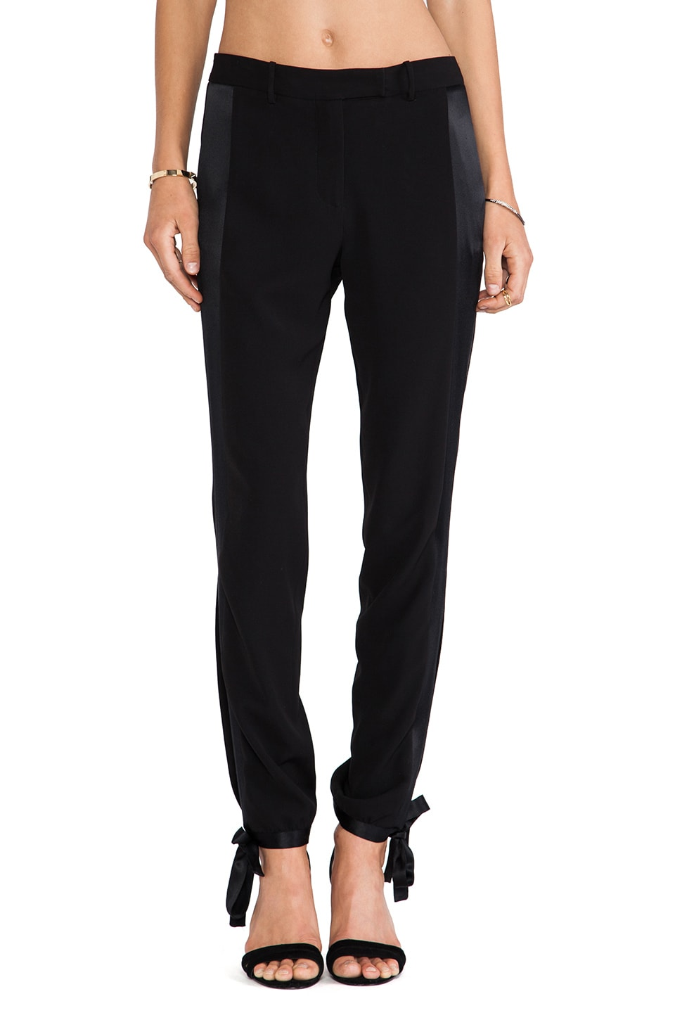 Halston Heritage Ankle Tie Pants in Black