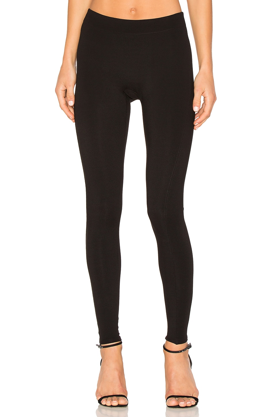 Halston Heritage Slim Fit Ribbed Leggings in Black