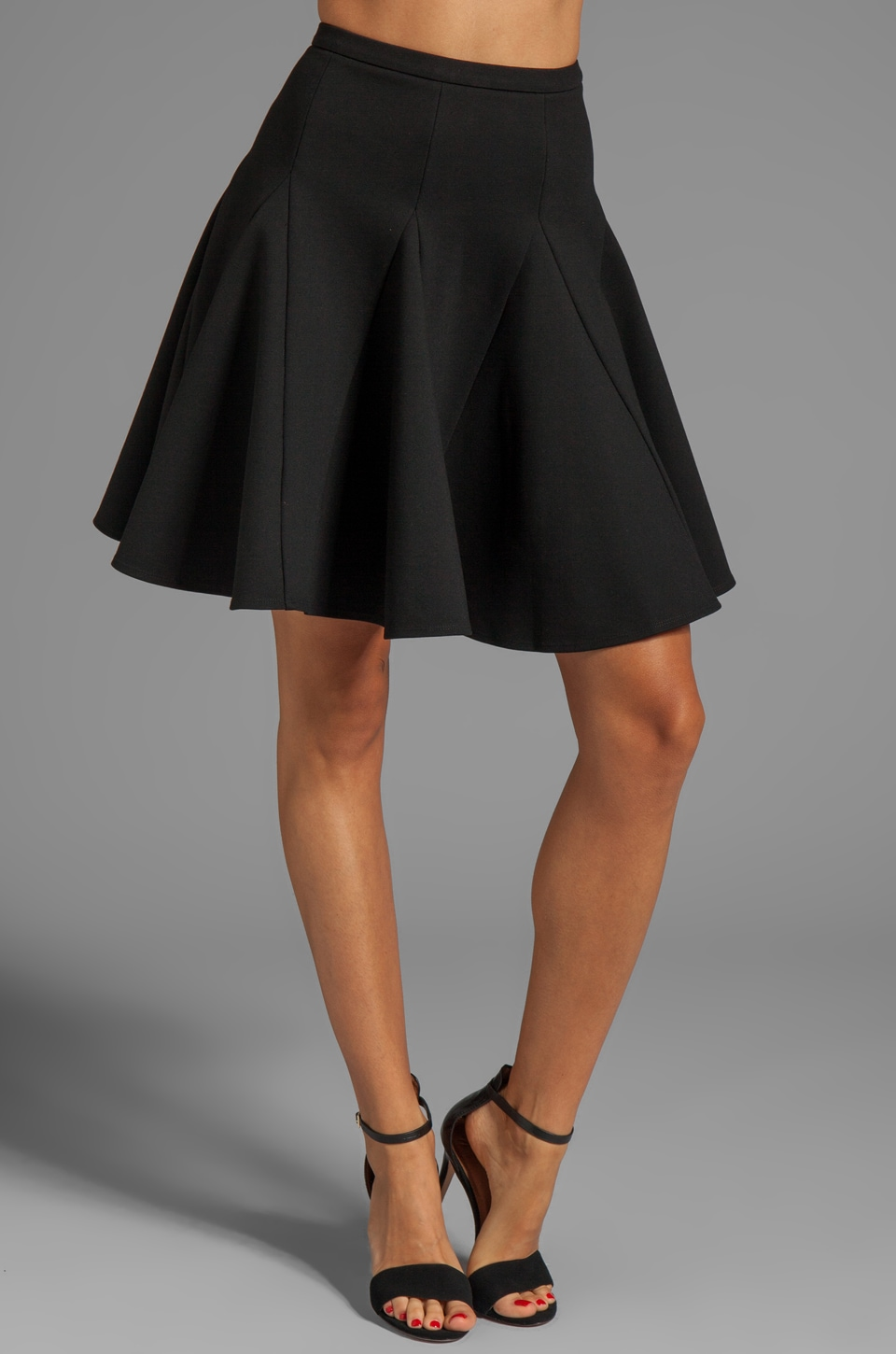 Halston Heritage Circle Ponte Skirt in Black