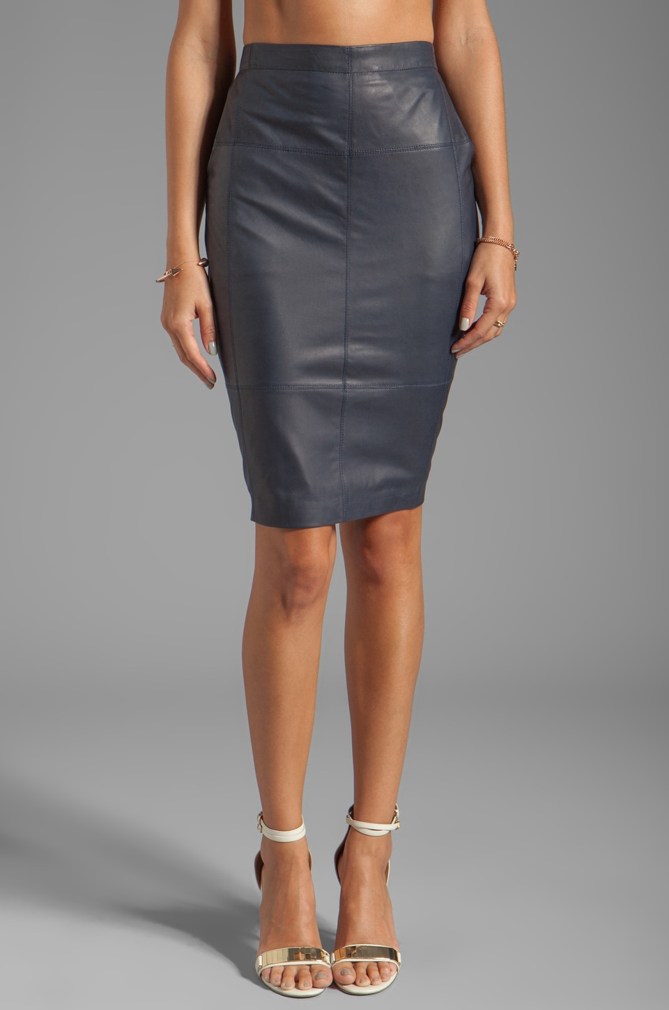 Halston Heritage Leather Combo Pencil Skirt in Midnight