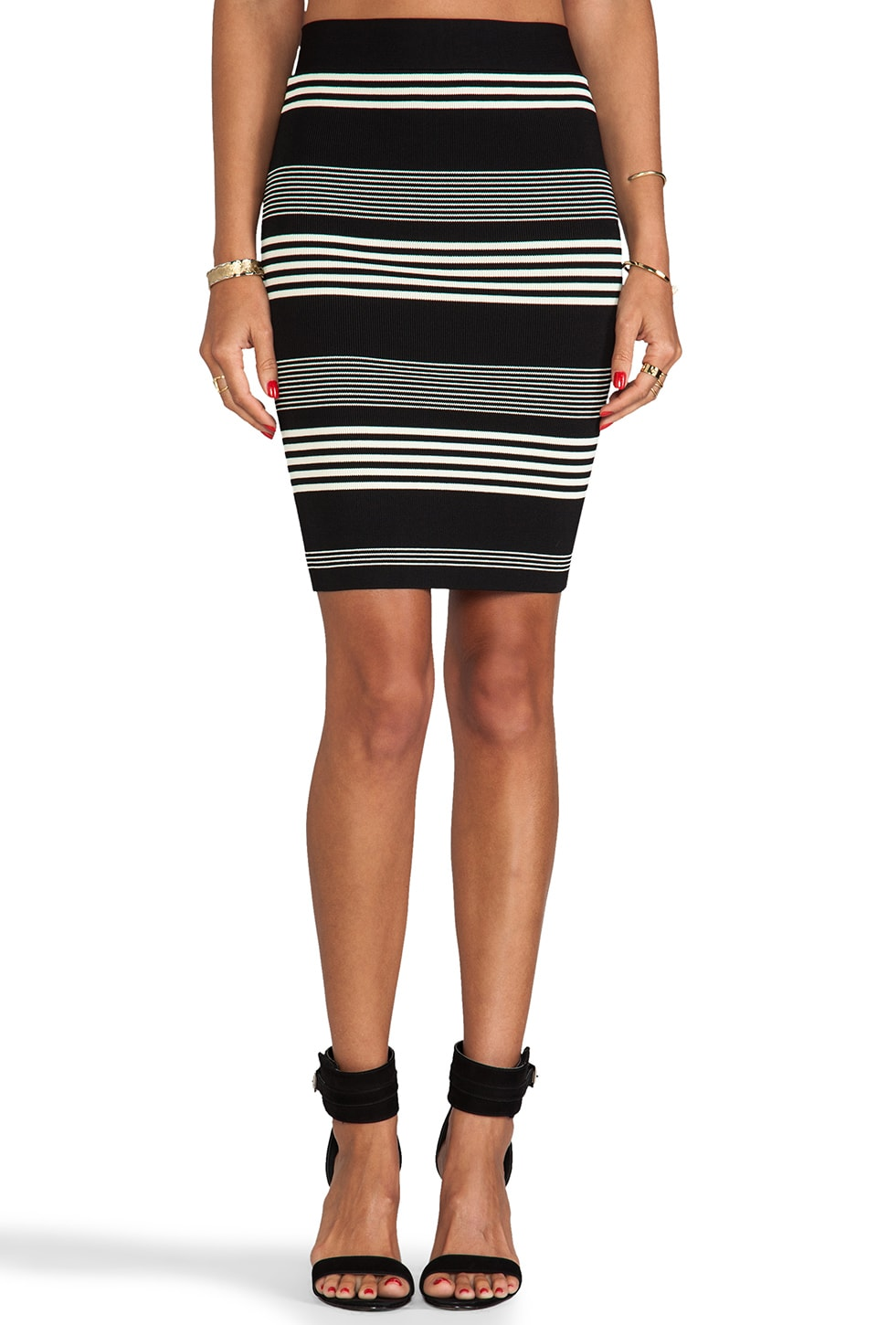 Halston Heritage Striped Sweater Knit Pencil Skirt in Black & Chalk
