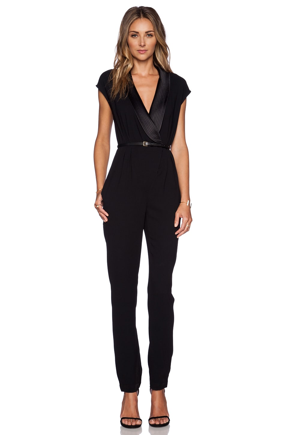 Halston Heritage Draped Jumpsuit in Black