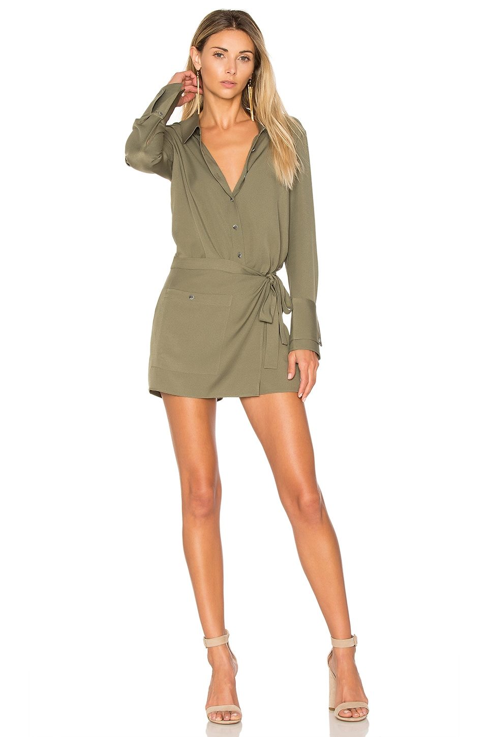 Halston Heritage Romper With Faux Wrap in Moss