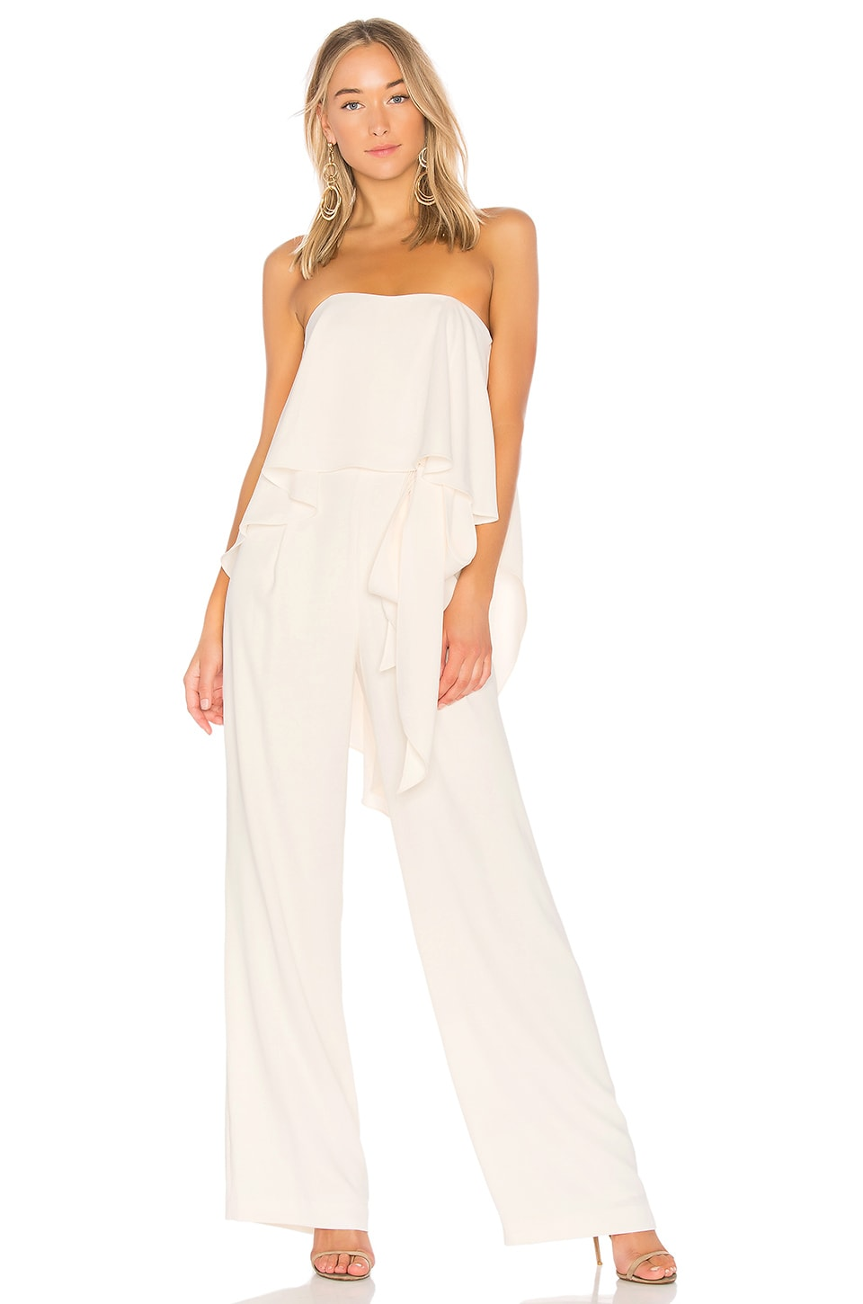 Strapless Jumpsuit With Flowy Back by Halston Heritage