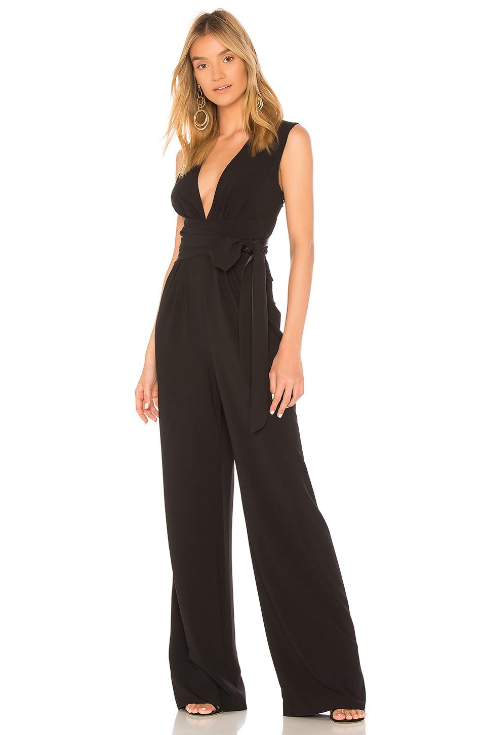 V Neck Wide Leg Jumpsuit by Halston Heritage