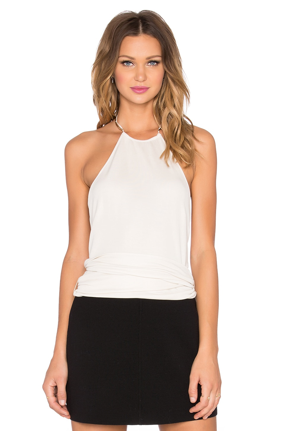 Halston Heritage Sash Halter Top in Dark Bone