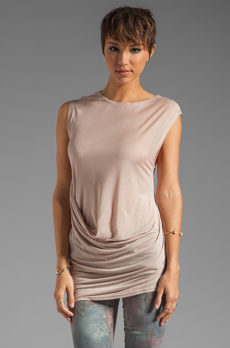 Halston Heritage Side Drape Detail Top in Silk Rain