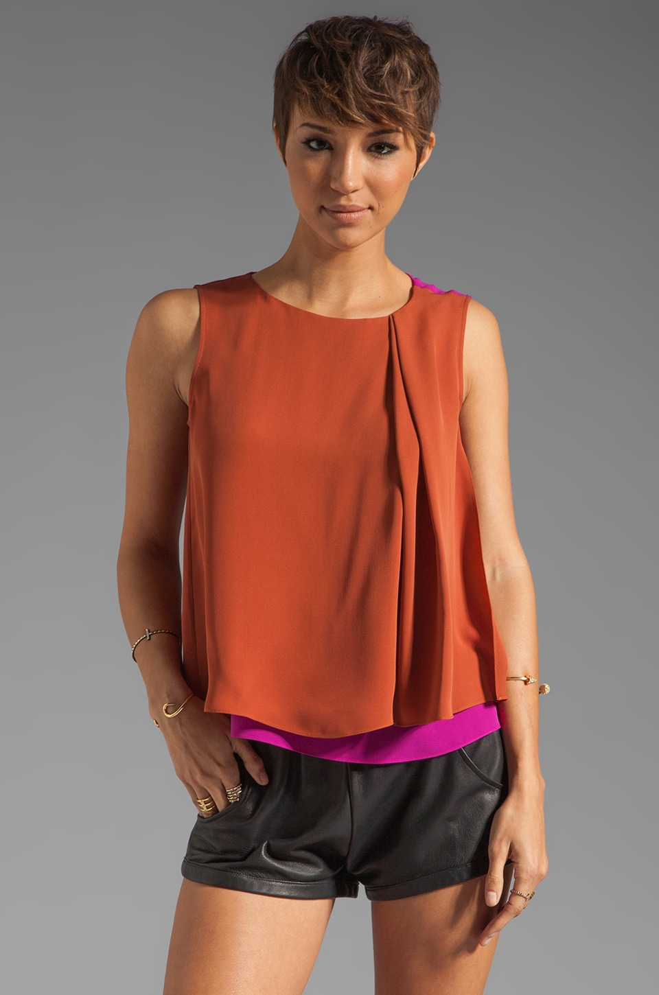 Halston Heritage Sleeveless Boatneck Colorblock Top in Bright Magenta/Space