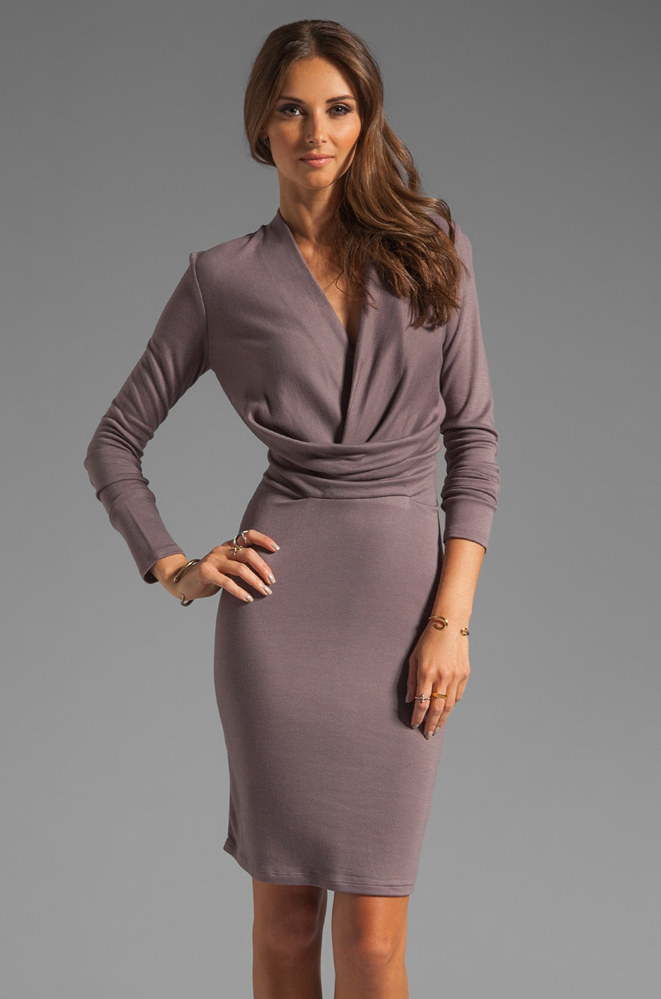 Halston Heritage Long Sleeve V Neck Draped Front Jersey Dress in Sparrow