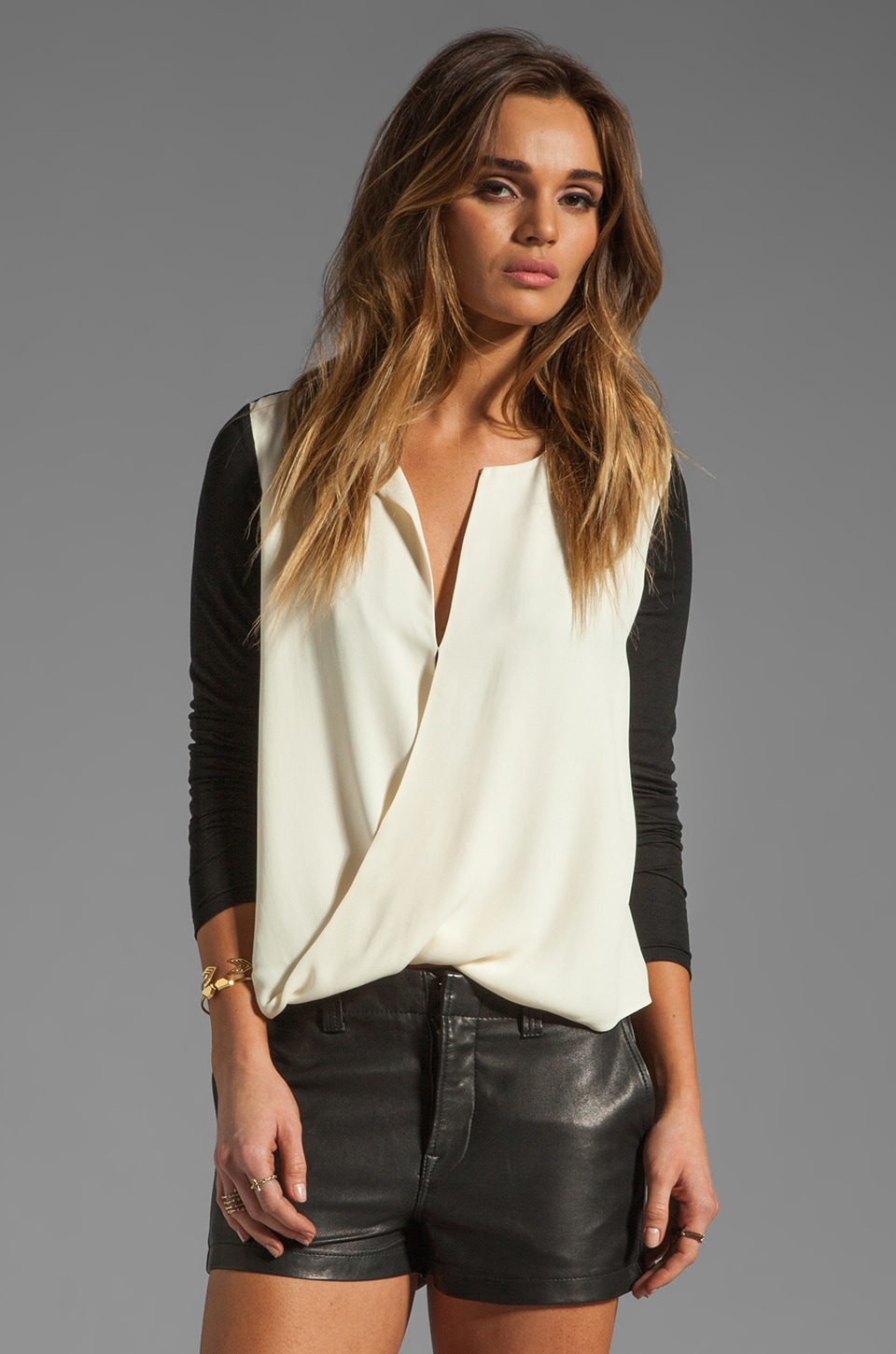 Halston Heritage Long Sleeve Slit Front Top in Cream/Black