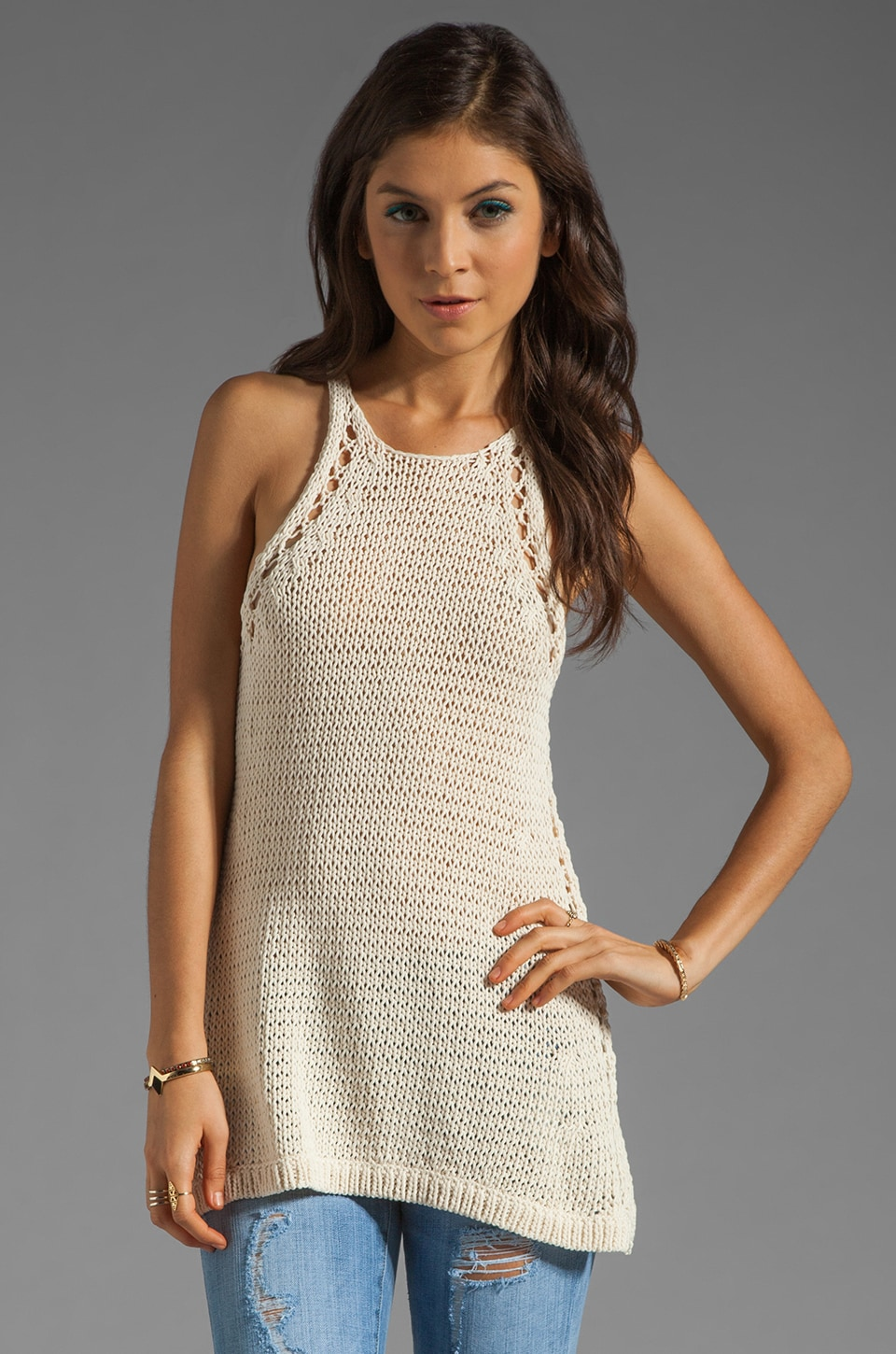 Halston Heritage Racerback Sweater Tank in Cream