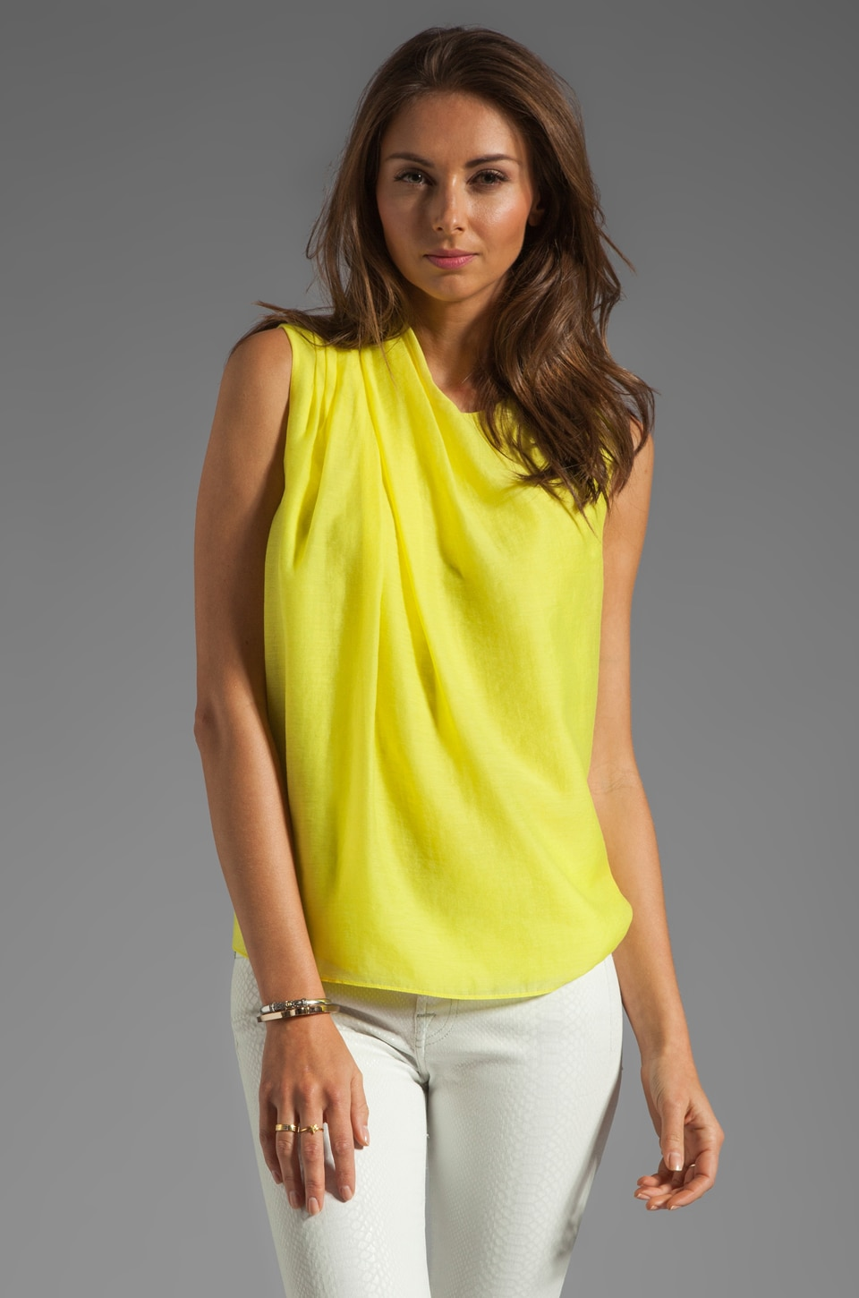 Halston Heritage Shoulder Pleat Blouse in Lemonade