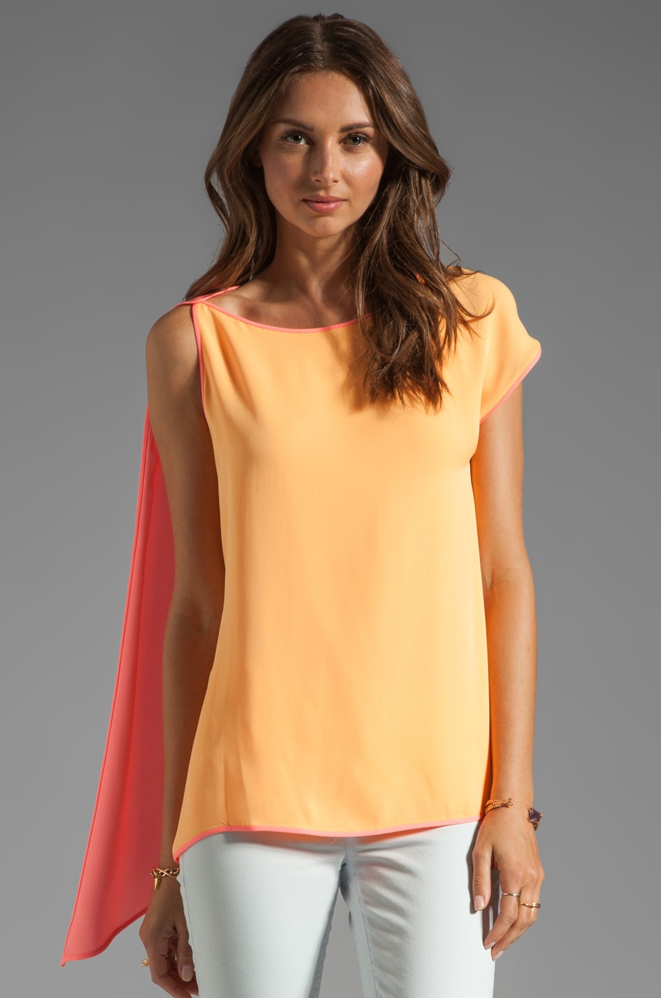 Halston Heritage Drapey Top in Nectar/Bright Guava