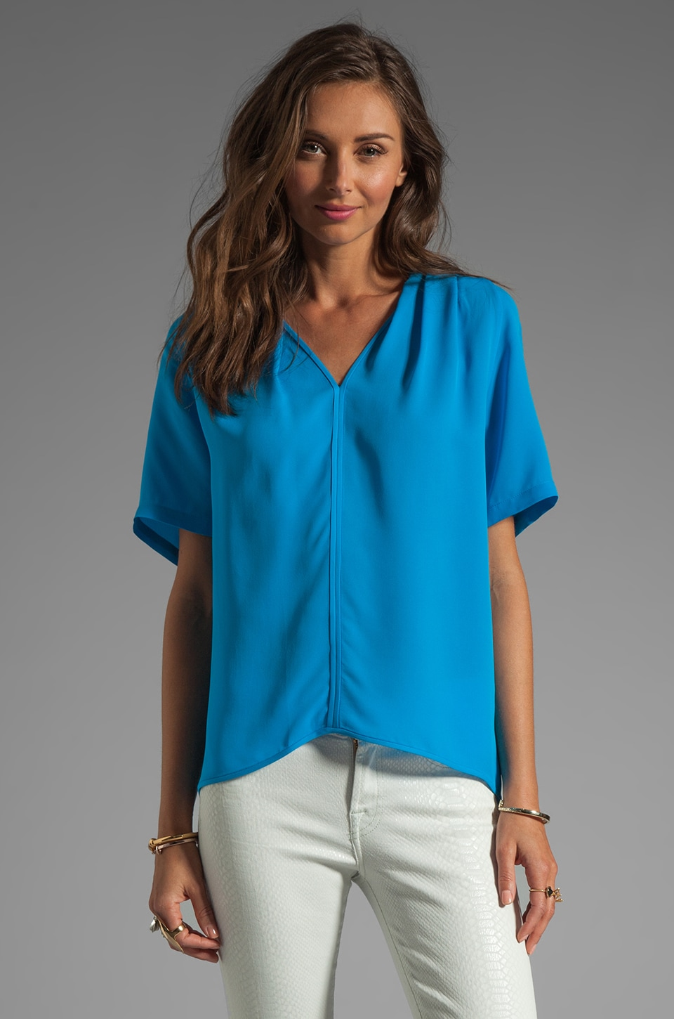Halston Heritage V Neck Drapey Top in Lagoon