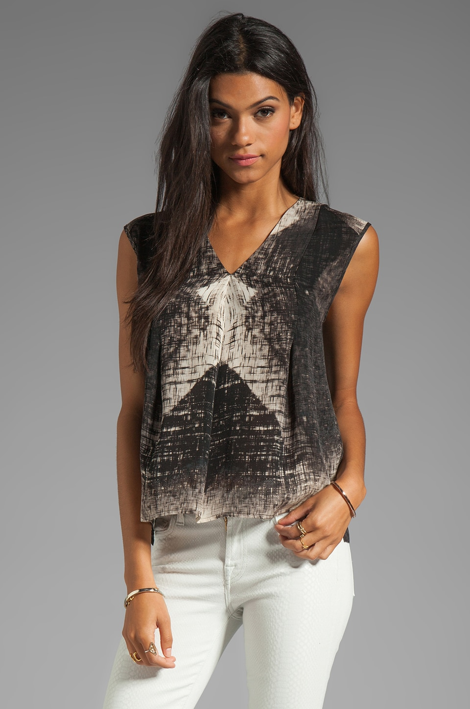Halston Heritage V Neck Drapey Top in Black Reflection Diamond Print