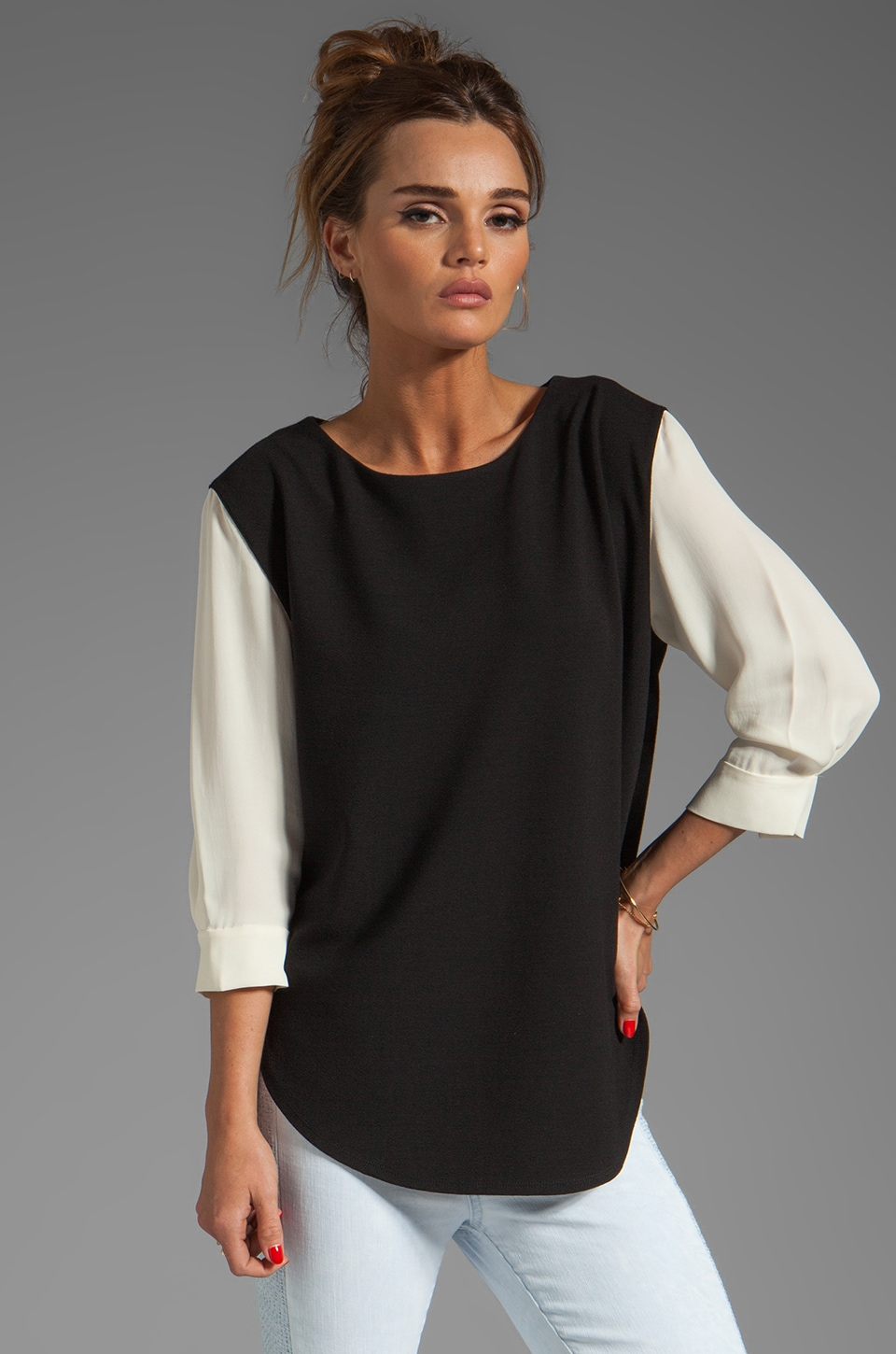 Halston Heritage Colorblock Sleeve Top in Black/Cream
