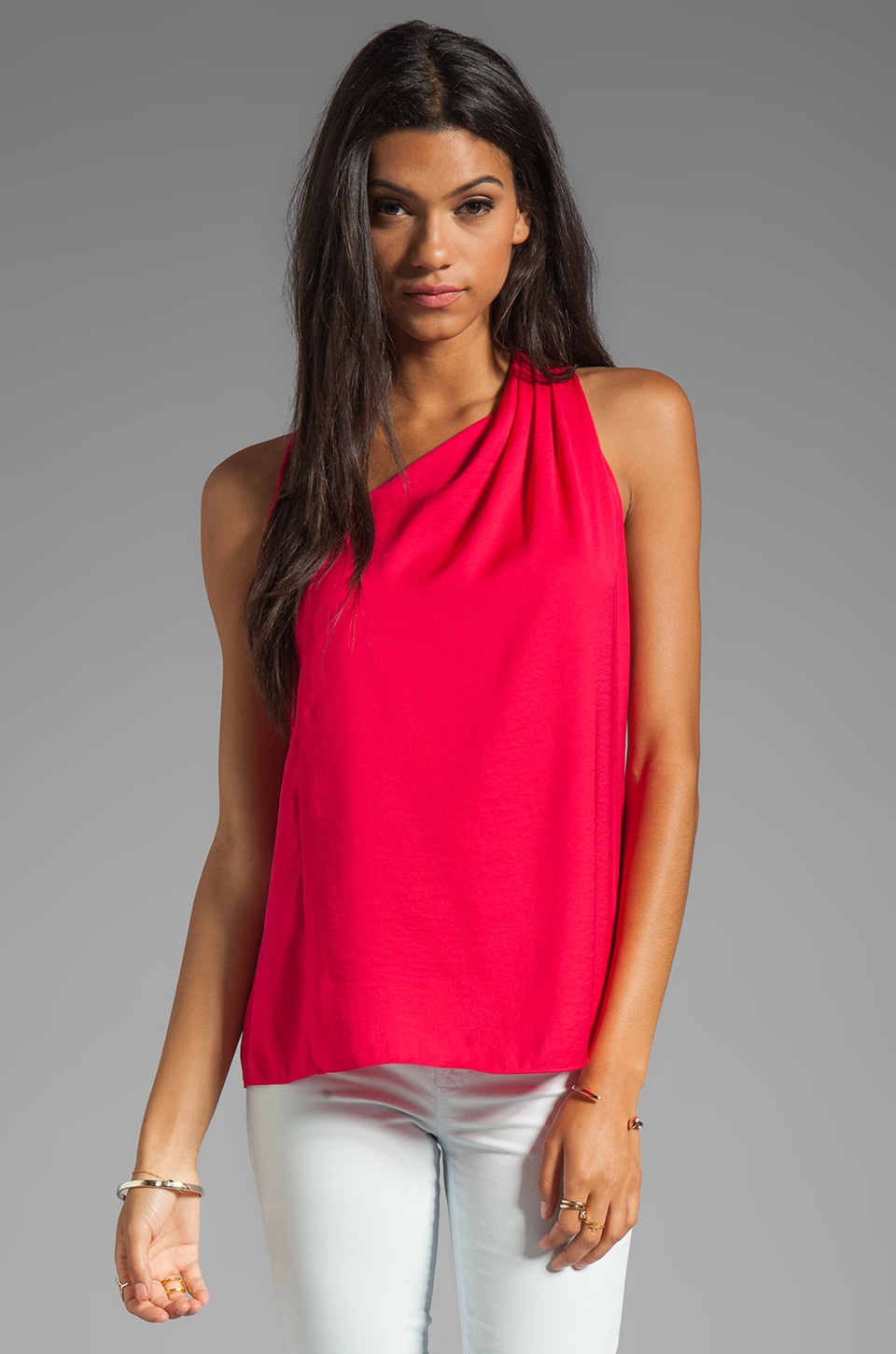 Halston Heritage Asymmetrical Draped Racerback Top in Bright Raspberry