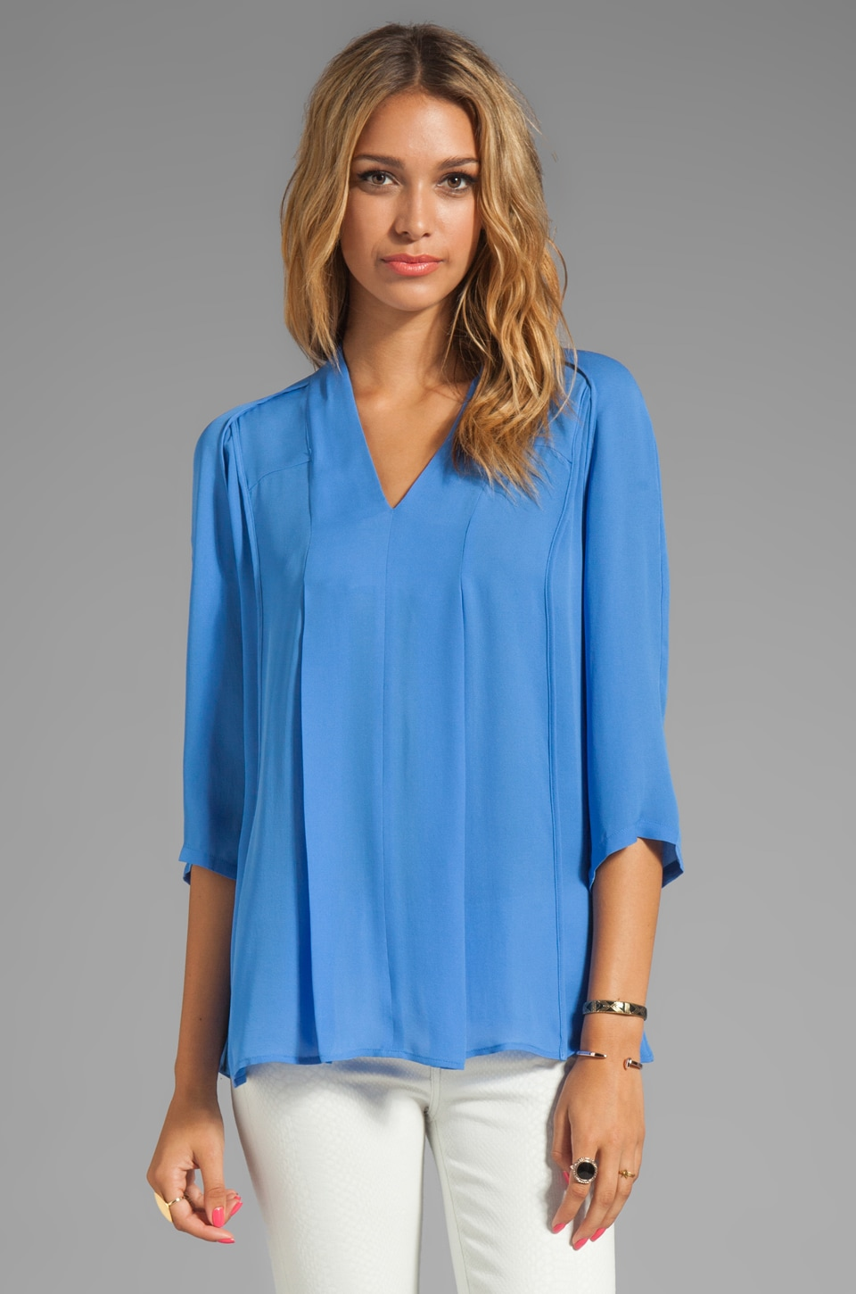 Halston Heritage Washed Silk Double Georgette Top in Sky Blue