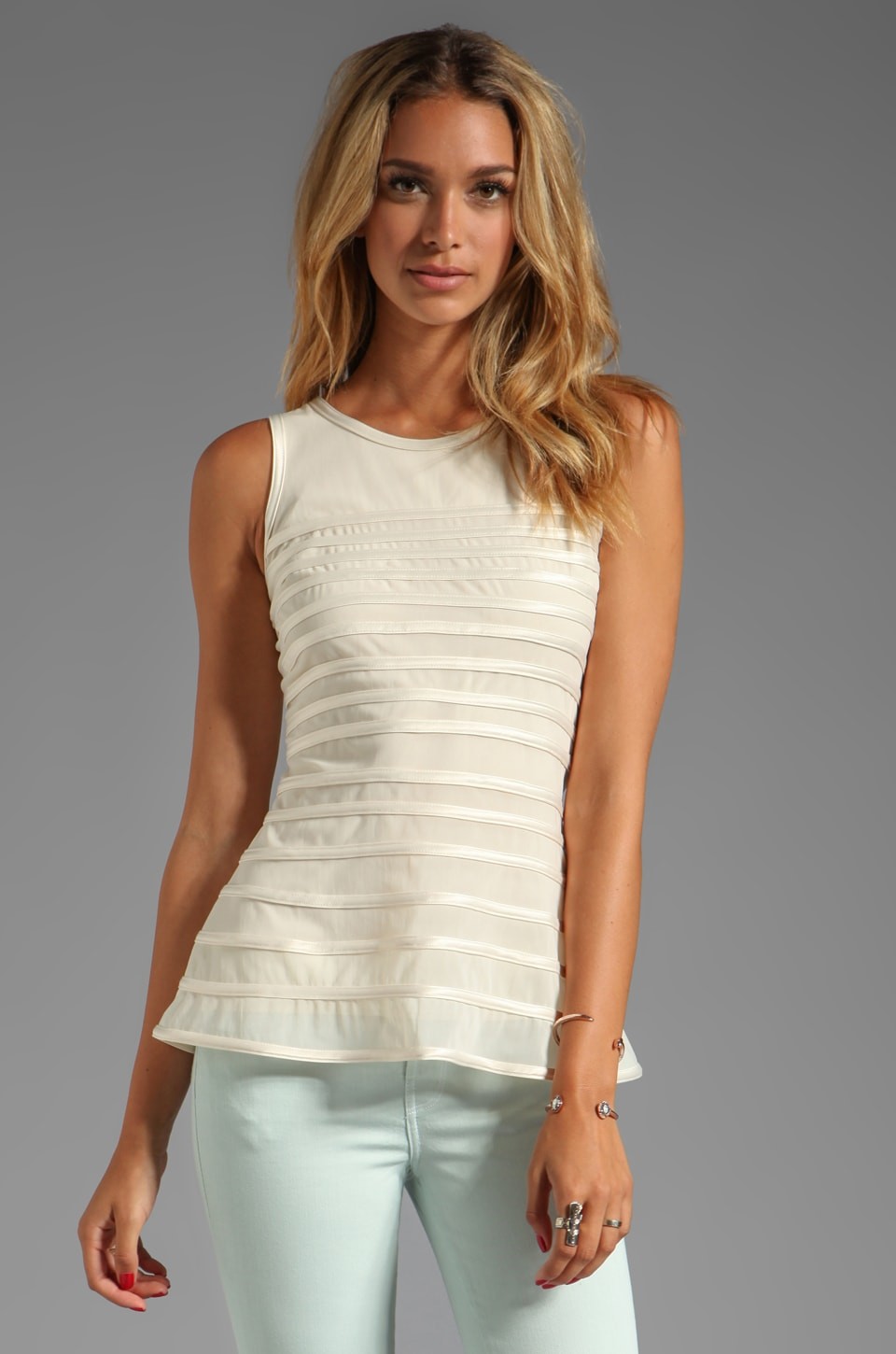 Halston Heritage SL Tank WIth Charmeuse Stripes in Bone