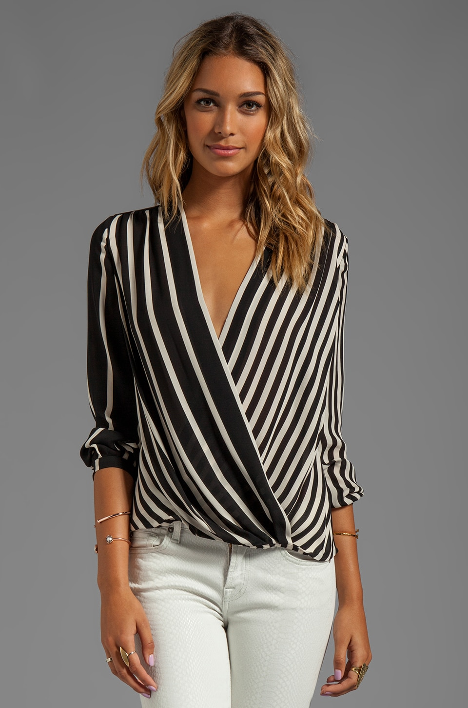 Halston Heritage Long Sleeve Printed Wrap Front Top in Black Stripe Print