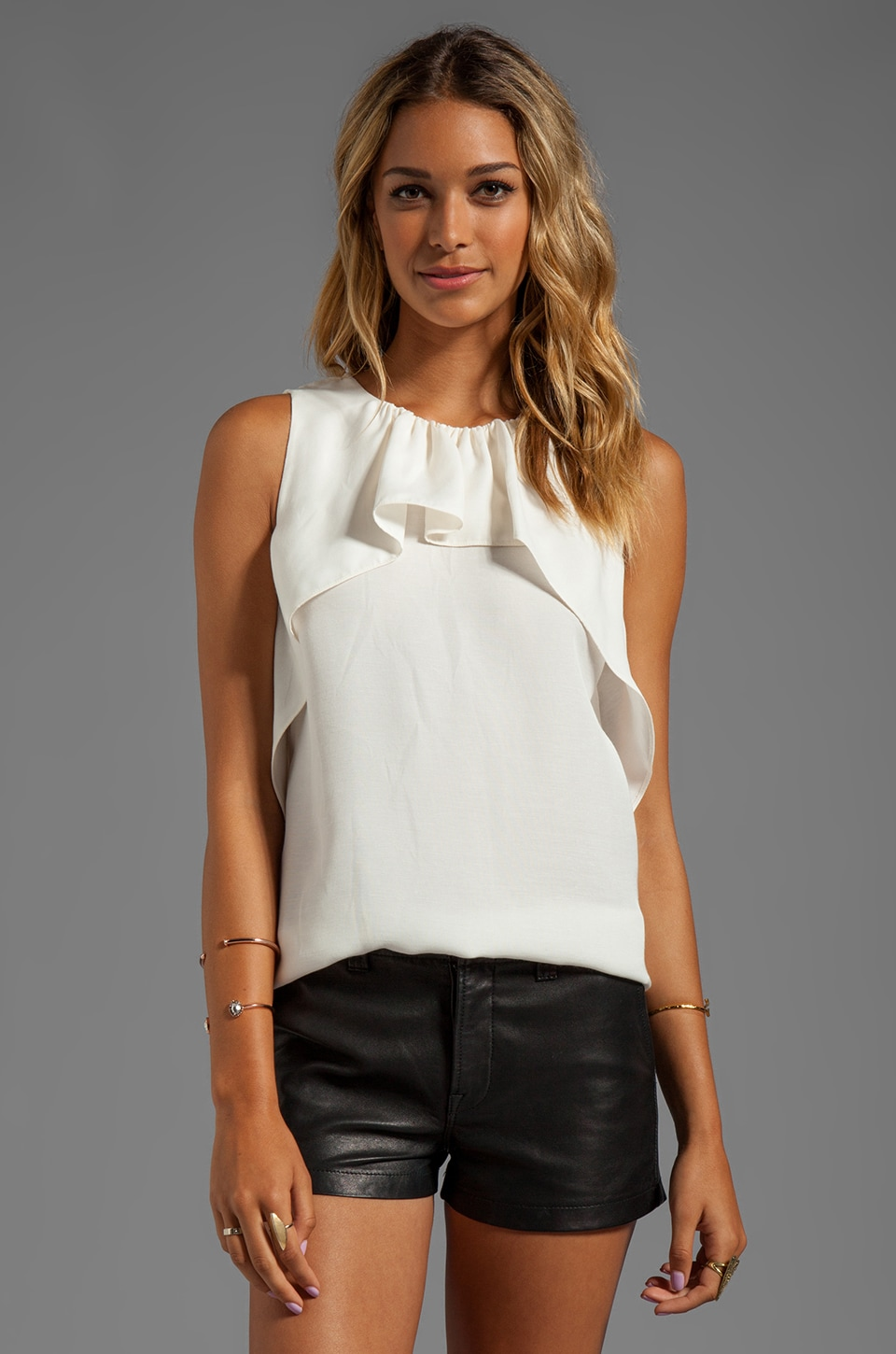Halston Heritage Sleeveless Crew Neck Ruffle Drape Top in Bone